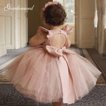 Gardenwed Puffy Cute Flower Girl Dresses Kids Simple Satin Bow Child Wedding Dresses Cap Sleeves Backless Ball Gown,Communion new cute sleeveless criss cross back backless puffy tiered scoop neck white ball gown flower girl dress for wedding kid gown