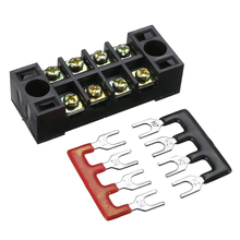 600V 15A 4P Dual Row Wire Barrier Terminal Block Prevent Circuit in Disorder Home Wire Tools with 2 Connector Strips 55*21*17mm