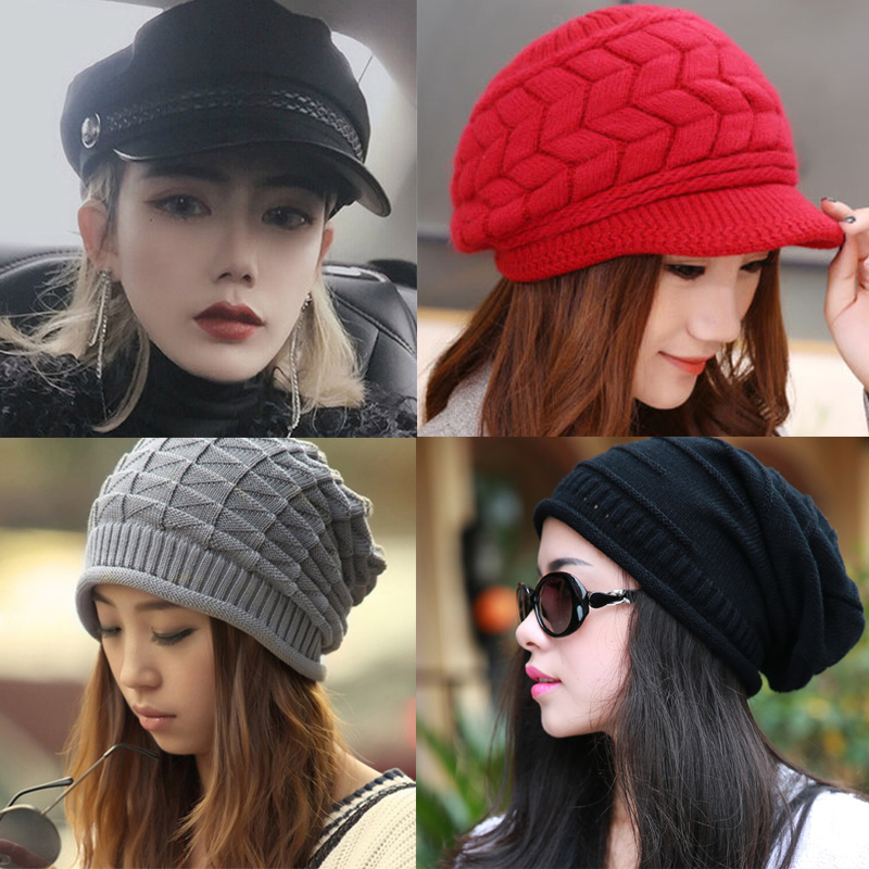 Winter Hat For Women Skullies Hat Fashion Knitted Solid Color Bonnet Caps Female Girls Casual Warm Knitted Beanie Winter Caps