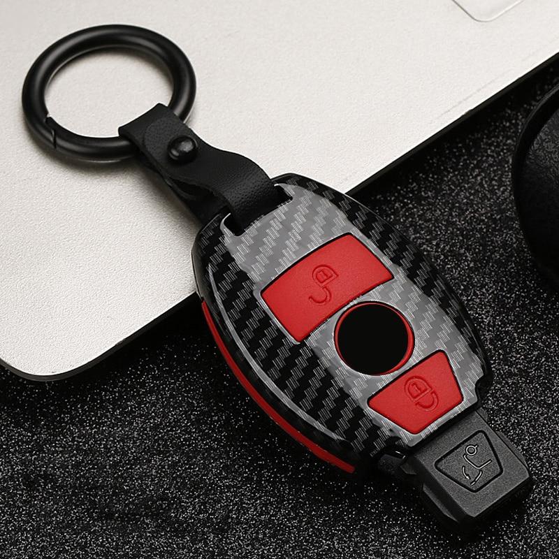2019 moda ABS + silika jel karbon fiber araba anahtarı koruyun kılıf kapak Mercedes benz A R k e n e n e n e n e n e n e n e n e n G sınıf GLK GLA W204 W251 W463 W176