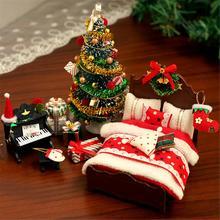 Рождественские украшения «сделай сам», кукольный домик, деревянные кукольные дома, миниатюрный набор мебели, игрушки для детей, подарок на ...
