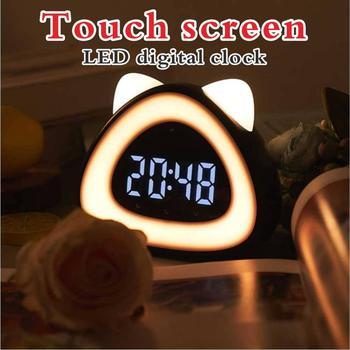 Led cyfrowy zegar stołowy Cock Wake-Up lampa cyfrowy budzik biurko elektroniczny zegar do sypialni z termometrem sterowany dźwiękiem tanie i dobre opinie CN (pochodzenie) Z tworzywa sztucznego Kalendarze Luminova tt12569 Stoper Kontrola akustyczna sensing 65mm DIGITAL 8 cal
