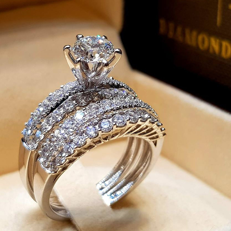 Trendy Crystal Ring Set Wedding Rings Women Geometric Luxury White Bridal Rings Jewelry Ladies Party gifts