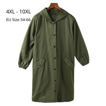 Plus Size 10XL 9XL 8XL Women Long Sleeves Autumn Trench Coat Woman Spring Hoodies Windbreaker Femme Army Green Trenchcoats