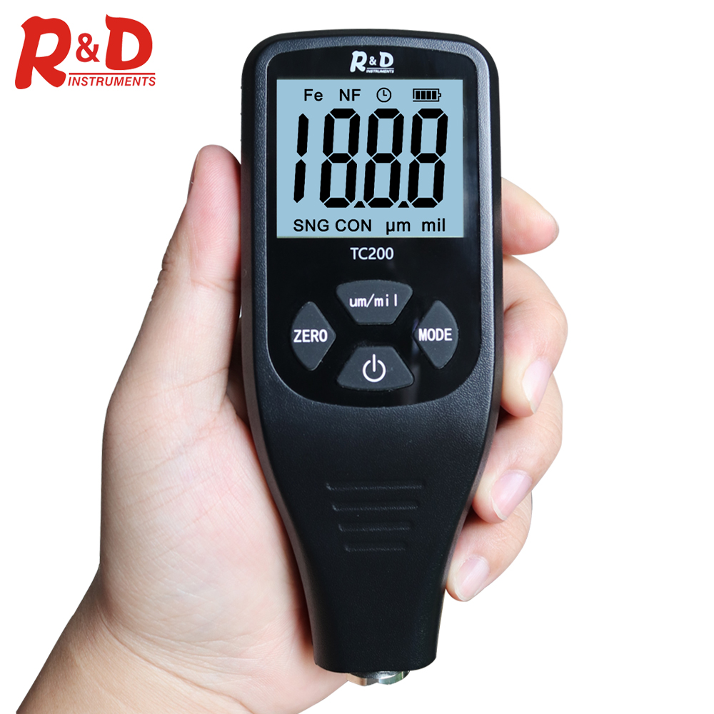 R amp D TC200 Coating Thickness Gauge Backlight LCD Film measurement composite Auto Car Paint Thickness Meter withUS RU Manual Fe NF