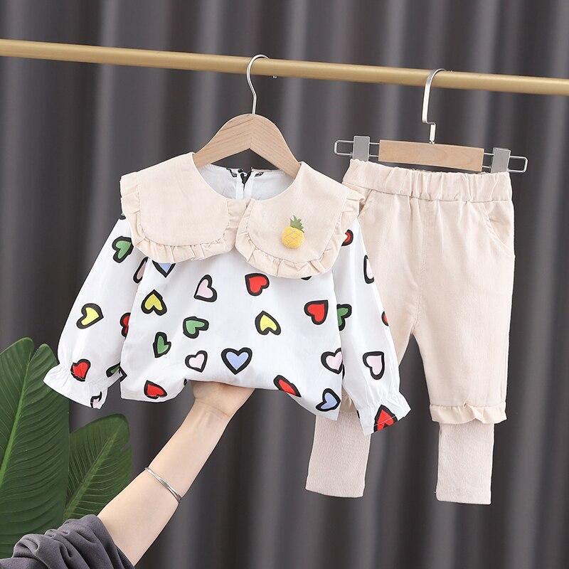 Комплекты одежды для новорожденных девочек на весну, одежда для маленьких девочек на день рождения 1 год, костюм из топа и брюк с надписью love,...