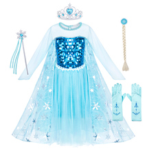 AmzBarley Long sleeves Girls Princess Elsa Dress Lace Sequins kids Snow Queen Costume Cosplay Halloween Party Clothing set