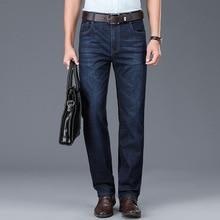 2020 Недавно Мода Мужские Джинсы Классический Свободного Покроя Бизнес Брюки Размер 28-42 Высокое Качество Черный Синий Умный Прям