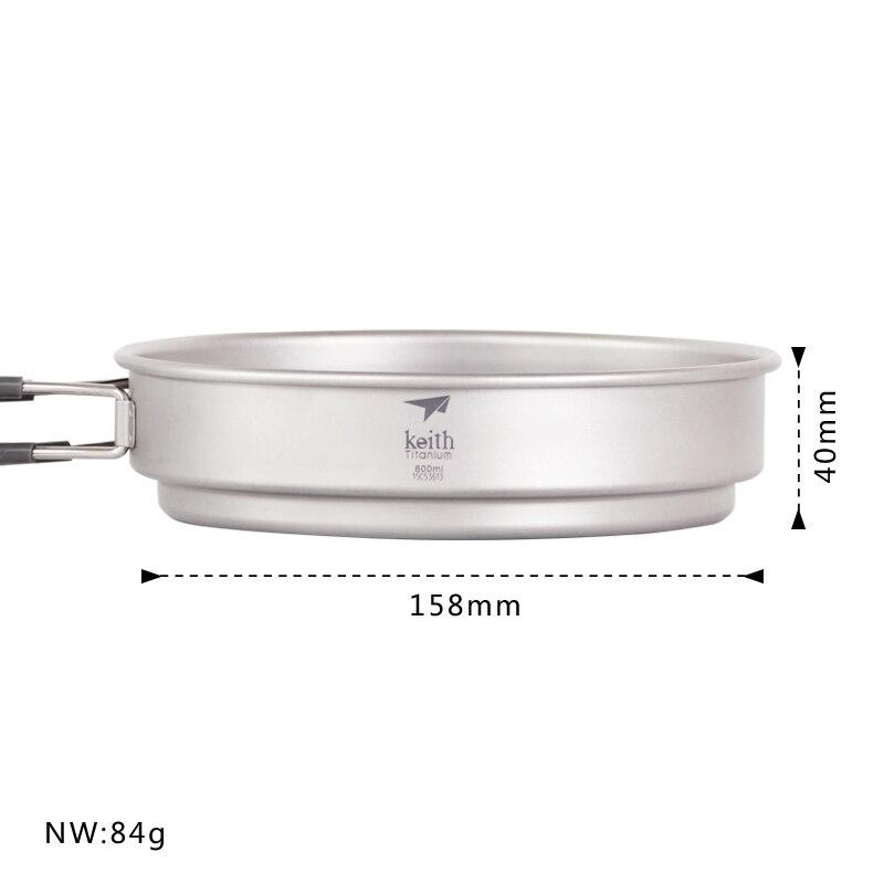 Keith Cooking Sets Pot And Pan Bacteriostatic Titanium Pots Set Pan Frying Pan For Camping Traving Hunting Hiking Cookware Set - 3