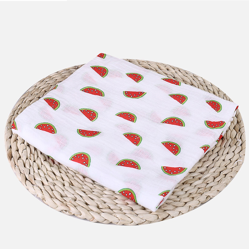 1 шт., муслин, хлопок, детские пеленки, мягкие одеяла для новорожденных, для ванной, марля, Детская накидка, спальный мешок, чехол для коляски, игровой коврик - Цвет: Watermelon