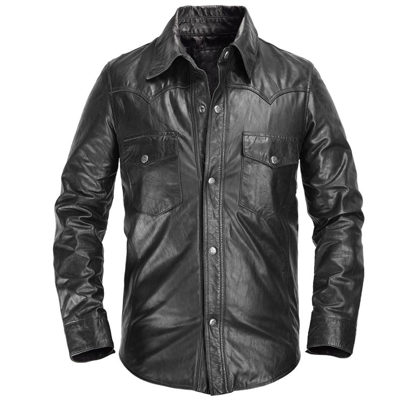 2019 Black Men Slim Fit Leather Shirt Single Breasted Plus Size XXXL Genuine Thin Sheepskin Spring Natural Skirt FREE SHIPPIG