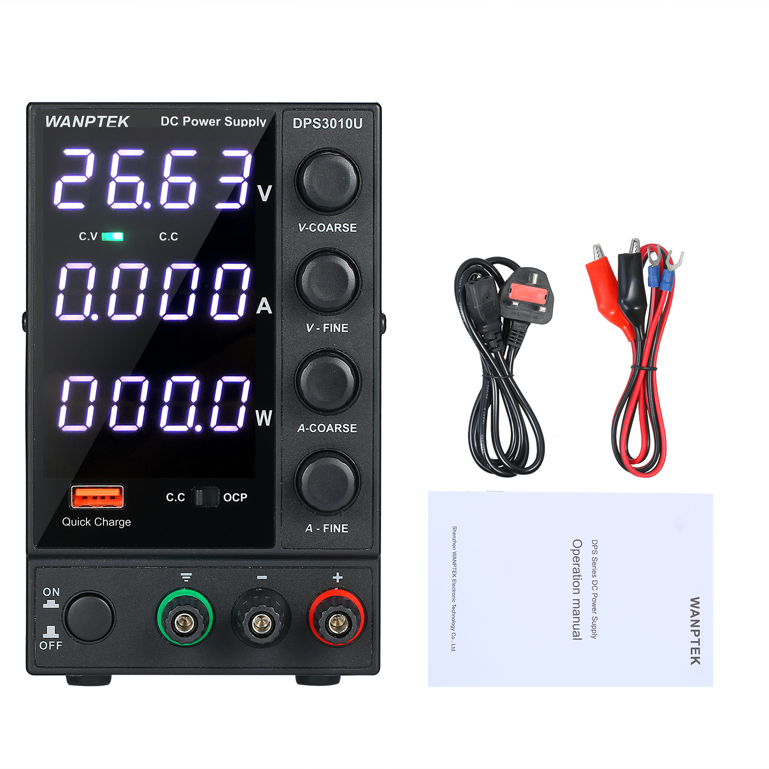 WANPTEK DPS3010U 0-30V 0-10A 300W Switching DC Power Supply 4 Digits Adjustable Mini Power Supply AC 115V/230V 50/60Hz
