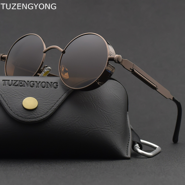 Classic Gothic Steampunk Sunglasses Polarized Men Women Brand Designer Vintage Round Metal Frame Sun Glasses High Quality UV400 1