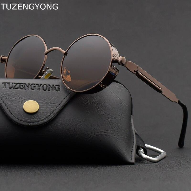 Clássico Gótico Steampunk Óculos De Sol Polarizados Homens Redondos de Armação de Metal Óculos de Sol Das Mulheres Designer De Marca Do Vintage de Alta Qualidade UV400