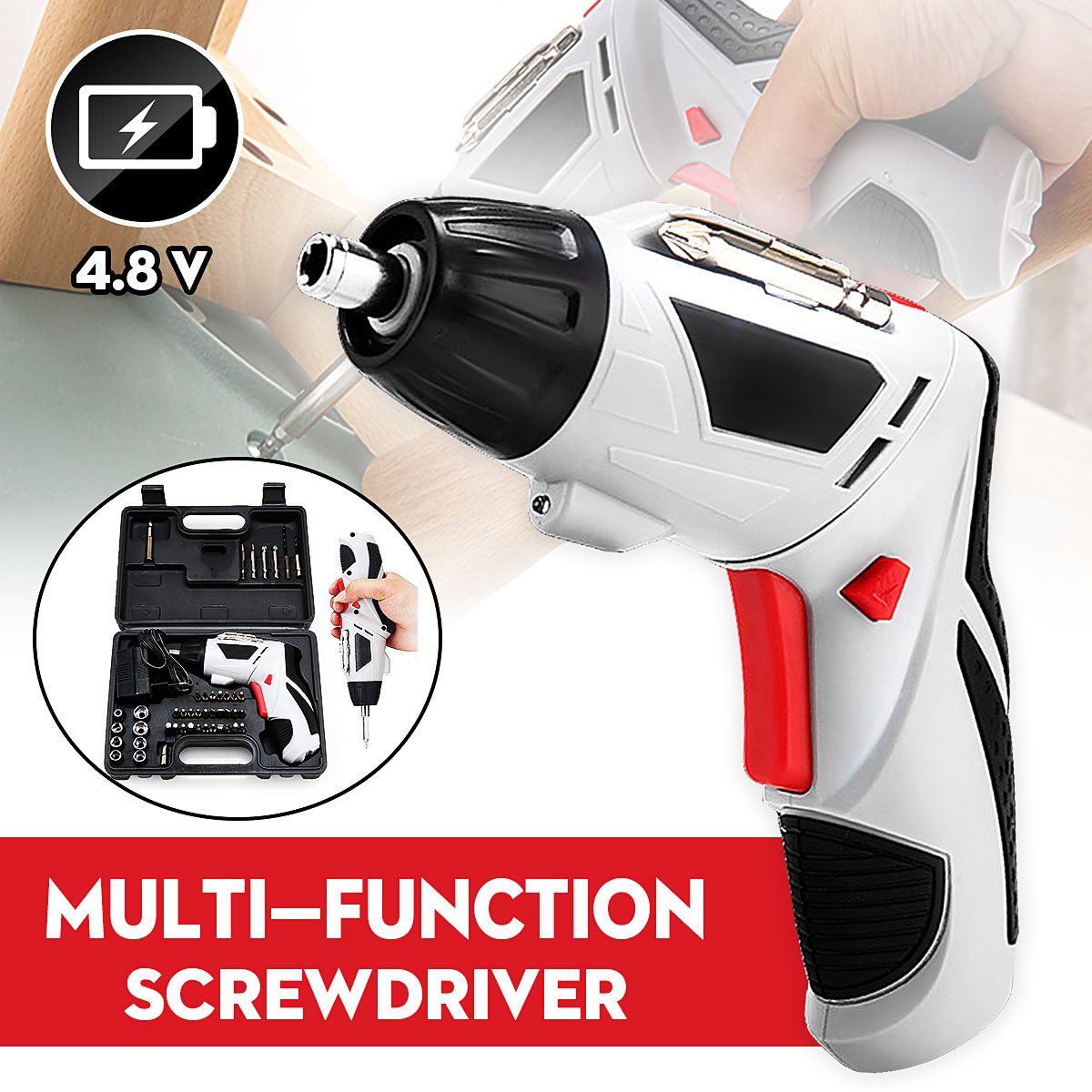 4.8V Mini Cordless Screwdriver With LED Light Multi-function  Household Electric Drill Rechargeable Battery 45 Bits Power Tools