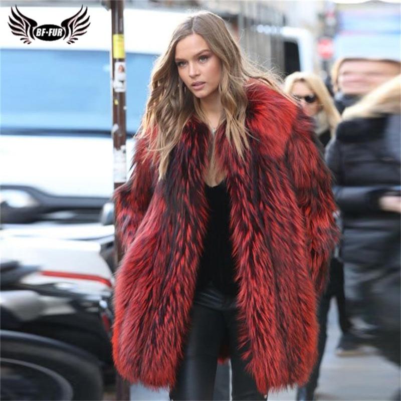 Fashion Wine Red Real Fox Fur Coat For Women 2019 Winter Luxury Silver Fox Fur Jacket Genuine Natural Fur Coats Luxury Outwear