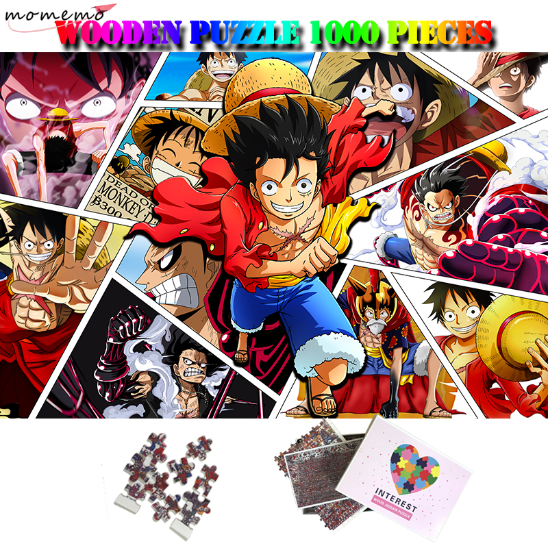 MOMEMO Monkey D. Luffy 1000 Pieces Wooden Jigsaw Puzzle Anime Cartoon Puzzle One Piece Customized Adults Assembling Puzzles Toys