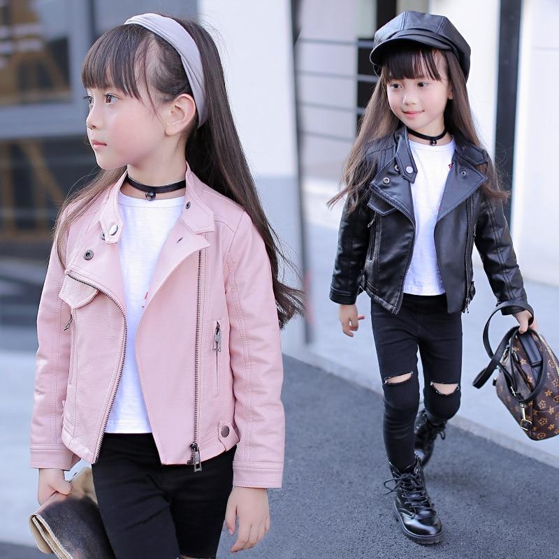 Baby Girls Boy Overwear 2021 Spring Autumn Winter PU Coat Jacket Kids Fashion Leather Jackets Children Coats Overwear Clothes 3