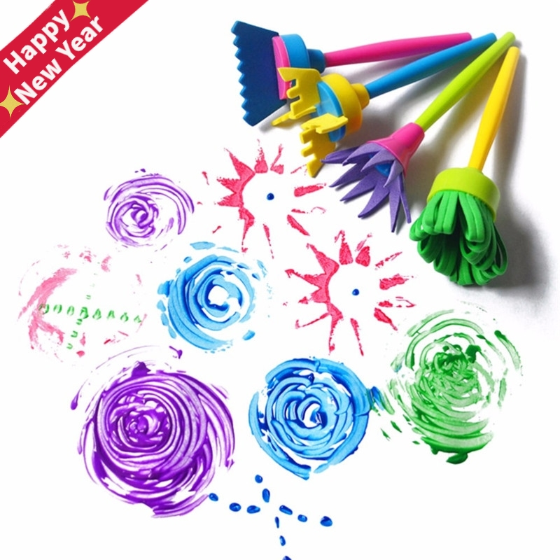 1/4Pcs DIY Flower Graffiti Sponge Art Supplies Brushes Seal Painting Tools Funny Drawing Toy Funny Creative Toy For Kid Children