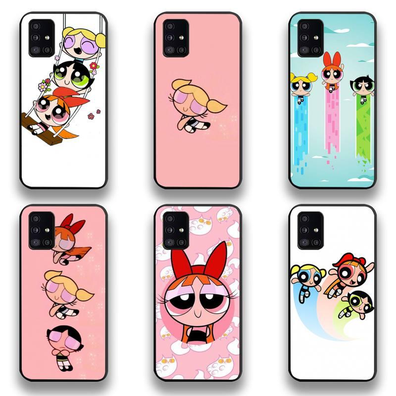 Cartoon Lovely Power Girls Puff Phone Case For Samsung Galaxy A21S A01 A11 A31 A81 A10 A20E A30 A40 A50 A70 A80 A71 A51