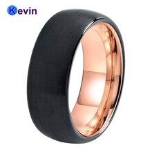 شعبية جدا قبة الفرقة التنغستن خاتم الزواج مع فرشاة سوداء خارج ولون الذهب الوردي داخل النهاية