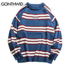 GONTHWID Striped Color Block Casual Knitted Sweaters Hip Hop Pullover Long Sleeve Crewneck Loose Knitwear Jumper Tops Streetwear(China)