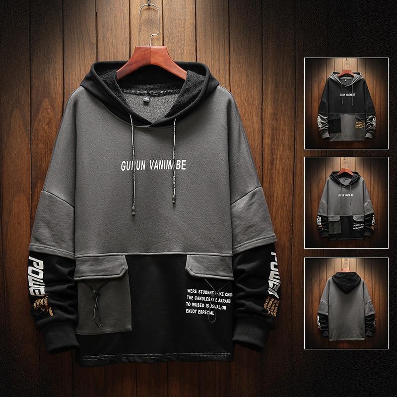 New Arrival Men's Hoodies  Multiple Pockets Hoodies Patchwork Hoodies Mens Casual Letter Hoodies Hip Hop Hooded Sweatshirts