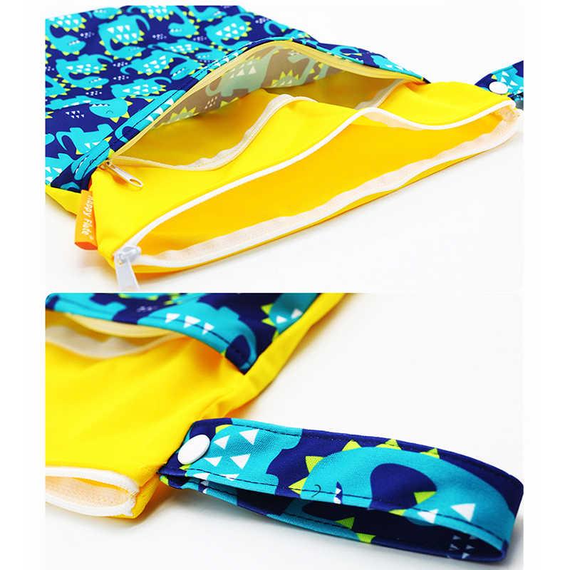 Hylidge, bolso organizador para cochecito de algodón reutilizable con dos bolsillos para bebés, pañales reutilizables, bolsa de tela para snacks, bolsas de neopreno con asa, 30x40CM