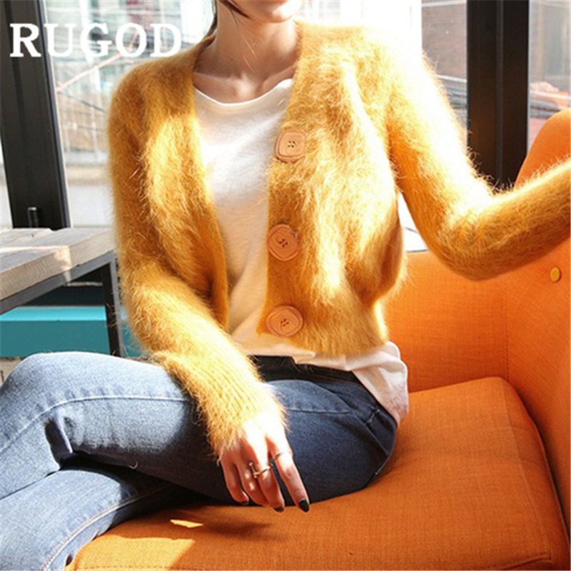 RUGOD 2019 New Autumn Snow Solid Sweater Cardigans Women Cashmere V Neck Big Button Slim High Waist Knit Coat Fashion Femme Ins