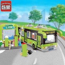 цены Enlighten 418pcs City Bus Station Building Blocks Puzzle Educational Bricks Action & Toy Figures Kids Toys
