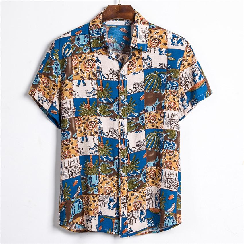 Floral Shirt Men Short Sleeve Hawaii Shirts 2020 Summer Casual Hawaiian Shirt Mens Summer New Fancy Printed Beach Shirts Loose