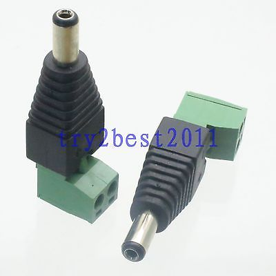 DHL/EMS 250 Pcs Connector DC Power 5.5mm X 2.1mm Plug Pin CAT5 CAT6 CCTV Camera Right Angle -C1