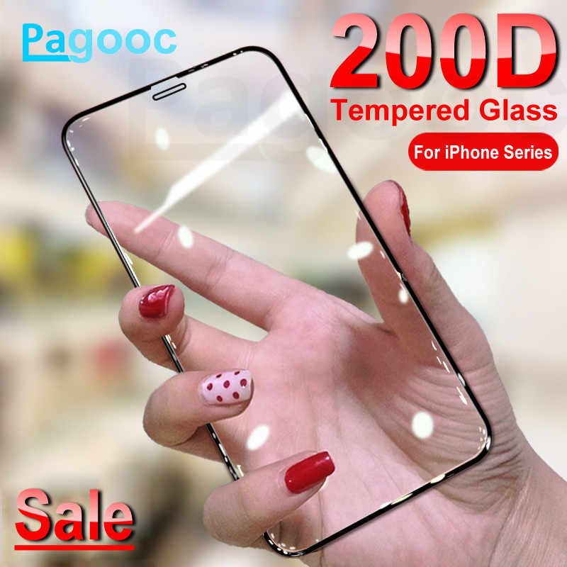 200D Curved Protective Glass For iPhone 11 Pro Xs Max X XR XS Tempered Screen Protector Glass on iPhone 6S 6 7 8 Plus Glass Film