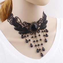 New Collares Sexy Gothic Chokers Crystal Black Lace Neck Choker Necklace Vintage Victorian Women Chocker Steampunk Jewelry