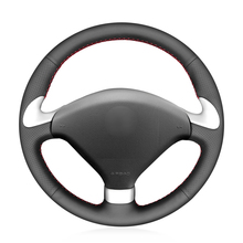 Hand stitched Black PU Faux Leather Car Steering Wheel Cover for Peugeot 307 CC 2004 2005 2006 2007