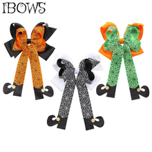 3Pcs/lot Halloween Hair Bows For Girls Kids Spiderweb Print Long Tail Clips Glitter Boots Cheer Accessories
