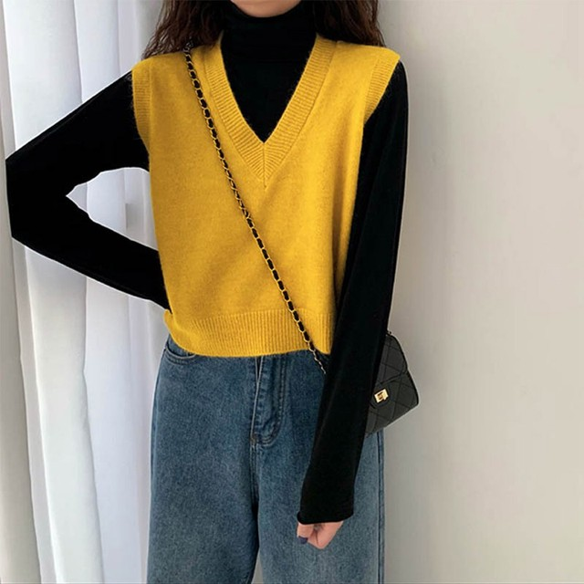 Autumn Sleeveless Sweater Women Sweet Solid Color V Neck Knitted Loose Sleeveless Slim Vest Jumpers Pull Femme Sweaters 4
