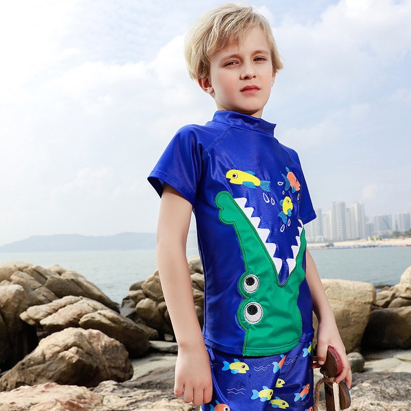 New Style KID'S Swimwear BOY'S Cute Cartoon Crocodile Eat Small Fish Children Split Type Two-Piece Set CHILDREN'S Swimsuit