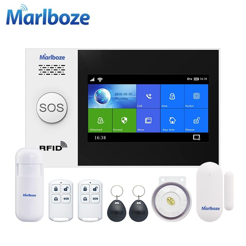 Marlboze 4.3 Inch IPS Color Display WIFI GSM GPRS Network Anti-tamper Burglar Alarm Systems Security Home Alarms Kit