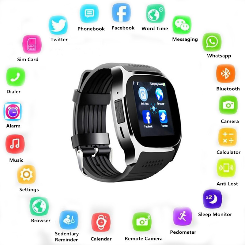 T8 Bluetooth Smart Watch With SIM TF Card Camera Smartwatch Sports Wristwatch For Android Phone Pk M26 Y1 A1 DZ09 GT08 V8 Z60