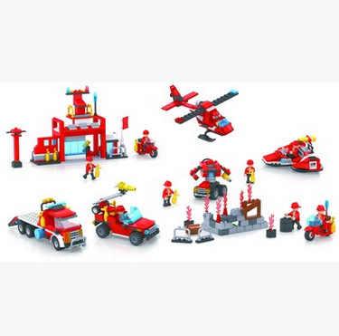 Cogo 新製品ビルディングブロック挿入教育組み立て玩具少年子供のおもちゃ 13018 消防旅団モデル