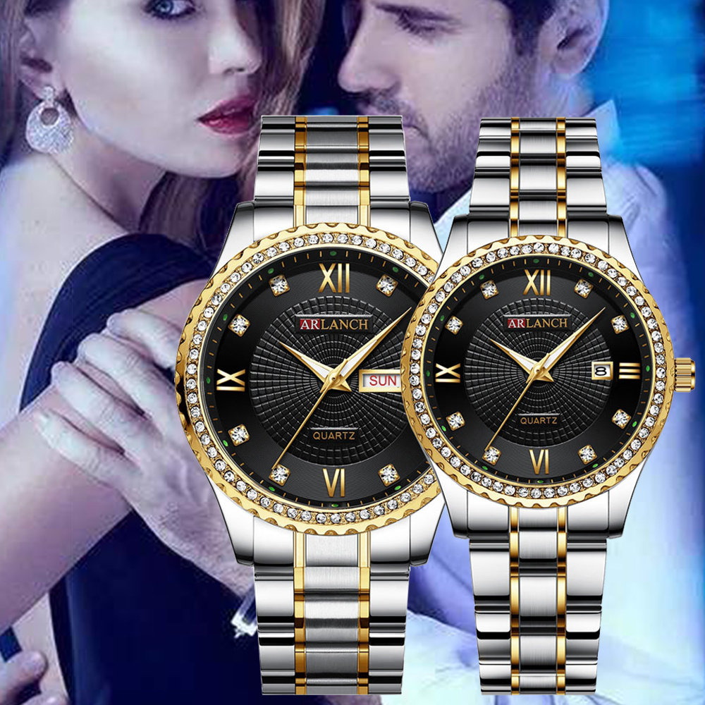 Fashion New Luxury Gold Watch Lady Men Lover Stainless Steel Quartz Waterproof Male Wristwatches For Men Analog Auto Date Watch