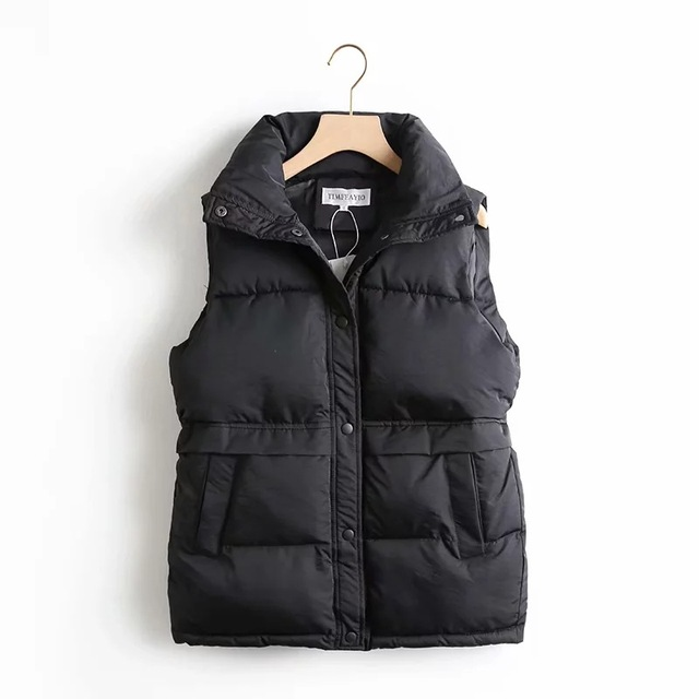 Autumn Winter Women's Solid Loose Vest Drawstring Stand Collar Long Vest Jacket  Cotton Padded Women's Windproof Warm Waistcoat 3