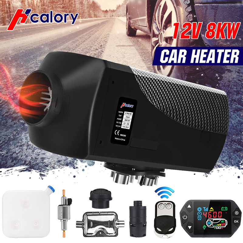 12V 8KW Car Heater LCD Diesel Air Heater Parking Heater Silencer <font><b>15L</b></font> <font><b>Tank</b></font> Car Trucks Boat Motorhome With Remote Control for RV image
