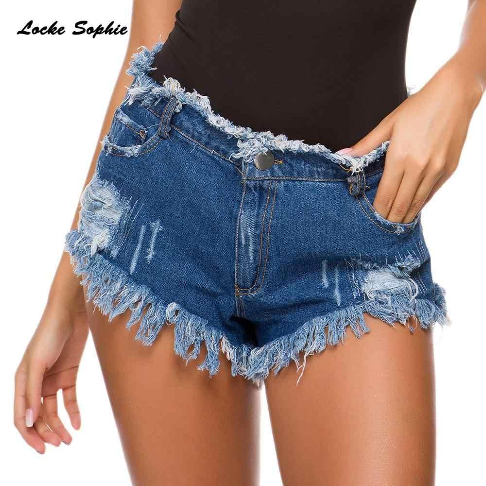 Wysokiej talii seksowne damskie spodenki jeansowe 2019 letnie denim bawełniane łączenie panie zepsuty otwór Skinny Sexy klub nocny super krótkie dżinsy