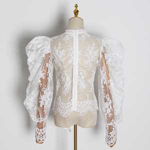 Image 2 - GALCAUR Embroidery Lace Womens Blouses Bowknot Collar Lantern Long Sleeve Perspective Shirts Female 2020 Fashion Clothing Tide