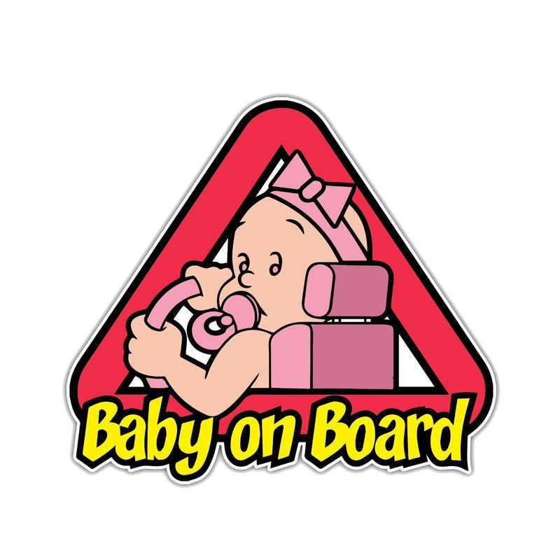 Autocollant de voiture d'avertissement de bande dessinée d'aliauto mignon bébé à bord accessoires décalcomanie imperméable de PVC pour Opel Astra Mitsubishi Kia, 15cm * 14cm