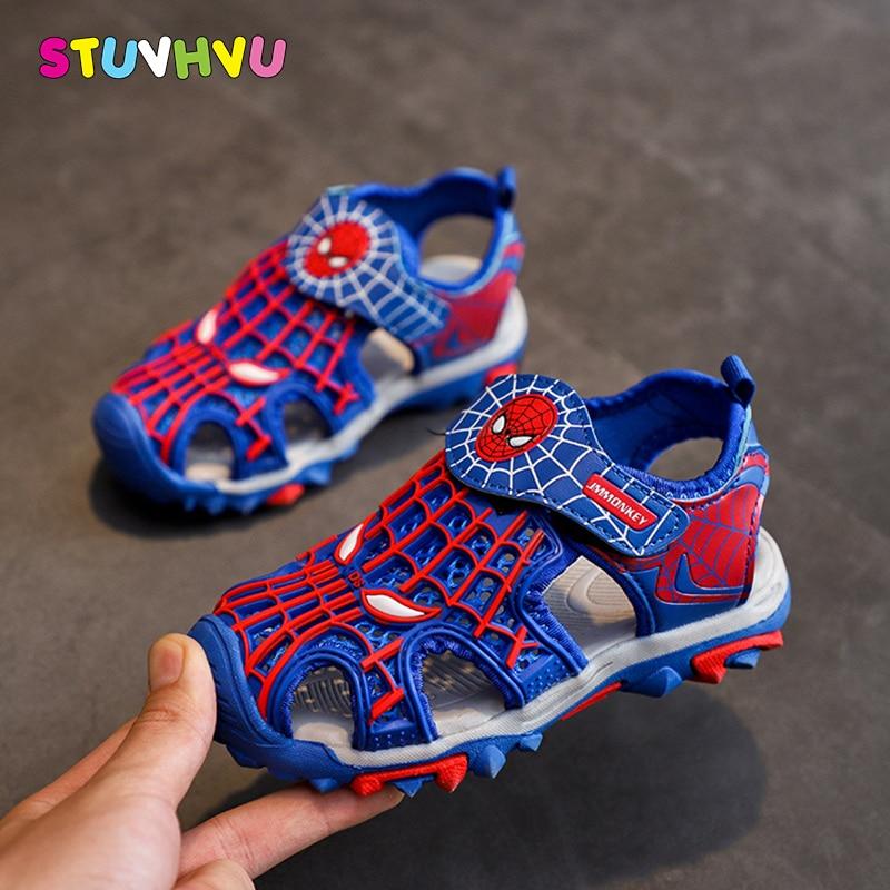Fashion Spiderman Boys Sandals Children's Shoes School Sports Sandals Summer New Baotou Soft Bottom Slip Leather Kids Sandals
