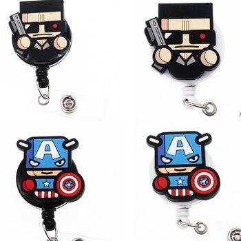 30pcs/Cartoon Pattern ID Badge Holder Retractable Cartoon Character Badge Reel