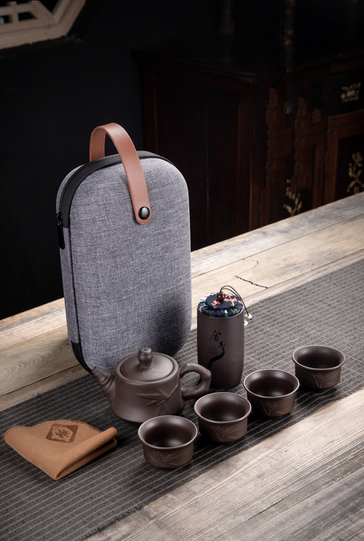 Purple Clay Kung Fu Teapot 230ml Chinese Porcelain Yixing Zisha Tea Pot 4 Cups Kung Fu Travel Tea Cup Handmade Tea Pot Cup Set